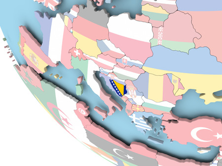 Bosnia on bright political globe with embedded flag. 3D illustration.