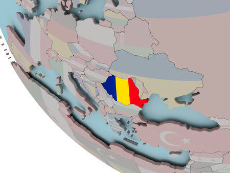 Map of Romania on political globe with embedded flags. 3D illustration.
