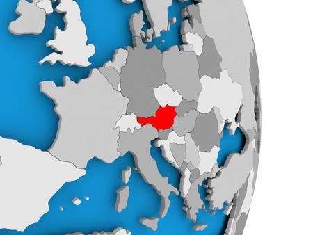 政治の世界のモデルの赤でオーストリア。3D イラスト。