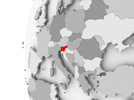 Slovenia highlighted on grey 3D model of political globe. 3D illustration.