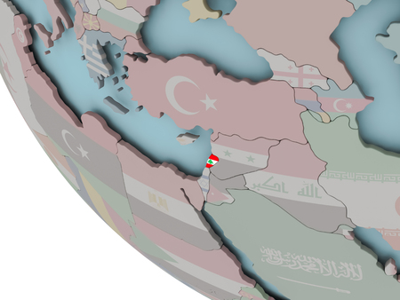 lebanese: Map of Lebanon on political globe with embedded flags. 3D illustration.