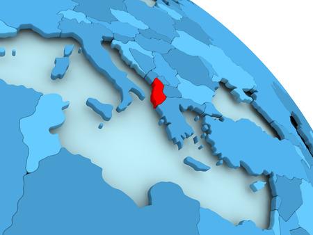 Albania highlighted on blue 3D model of political globe. 3D illustration.