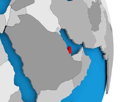 Qatar in red on model of political globe. 3D illustration.