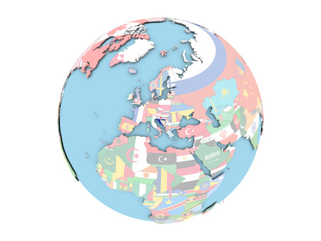 Croatia on political globe with embedded flags. 3D illustration isolated on white background.