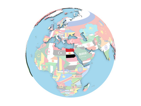 Egypt on political globe with embedded flags. 3D illustration isolated on white background.