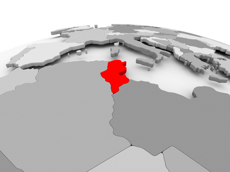 Tunisia in red on grey model of political globe. 3D illustration.