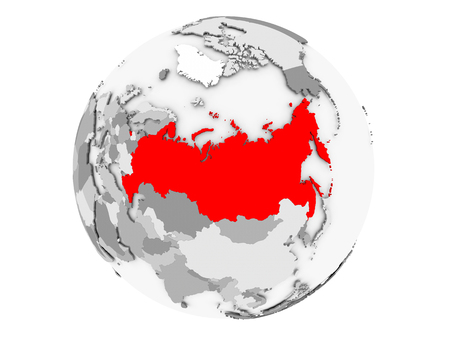 Russia highlighted in red on grey political globe. 3D illustration isolated on white background.