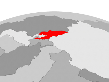 Kyrgyzstan in red on grey model of political globe. 3D illustration. Stock Photo