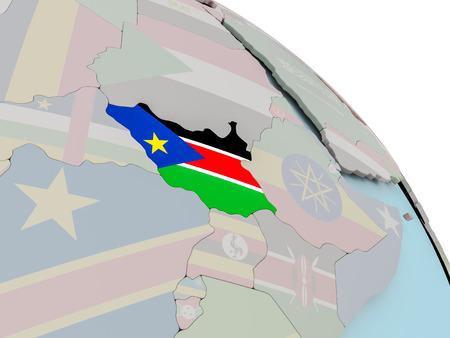포함 된 플래그 정치 지구에 남쪽 수단의 그림. 3D 그림입니다.