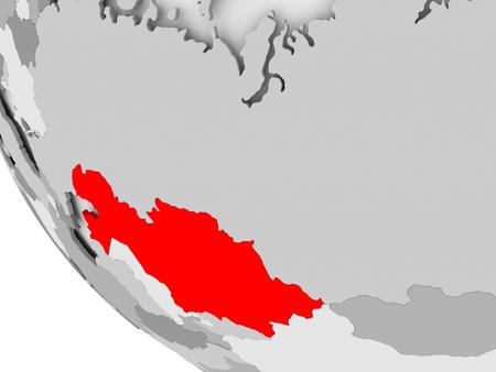 カザフスタンは、目に見える国境を持つ単純な灰色の政治的な地球儀に赤で。3Dイラスト。
