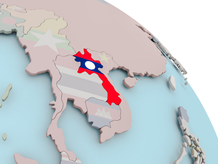 Illustration of Laos on political globe with embedded flags. 3D illustration.