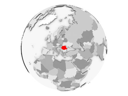Romania highlighted in red on grey political globe. 3D illustration isolated on white background. Imagens