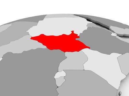 남부 수단 정치 지구의 회색 모델에 빨간색. 3D 그림입니다.