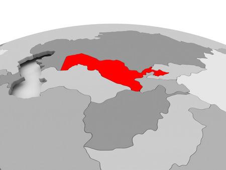 Uzbekistan in red on grey model of political globe. 3D illustration.