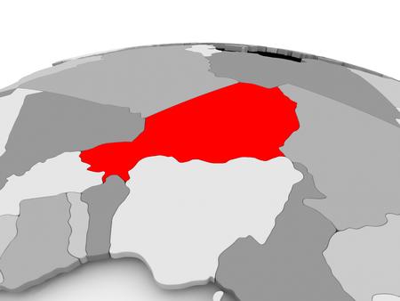 Niger in red on grey model of political globe. 3D illustration.