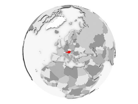 オーストリアは灰色の政界で赤くハイライトされています。白の背景に分離された3D イラストレーション。