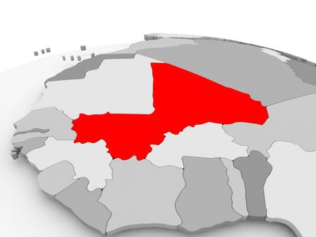 Mali in red on grey model of political globe. 3D illustration.