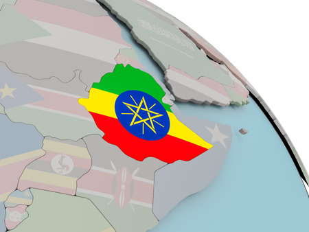 Illustration of Ethiopia on political globe with embedded flags. 3D illustration.
