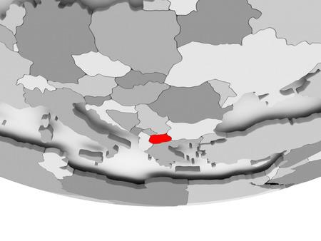 Macedonië in het rood op grijze politieke wereld. 3D illustratie.