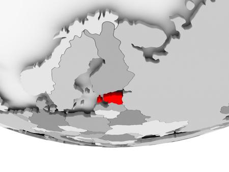 Estland in het rood op grijze politieke wereld. 3D illustratie.