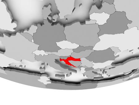 Croatia in red on grey political globe. 3D illustration.