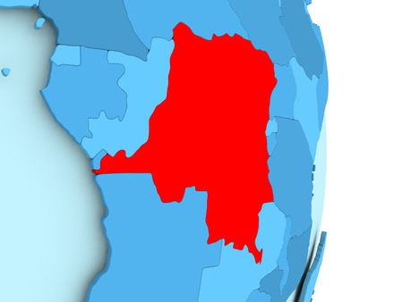 Democratic Republic of Congo in red on simple blue political globe with visible country borders. 3D illustration.