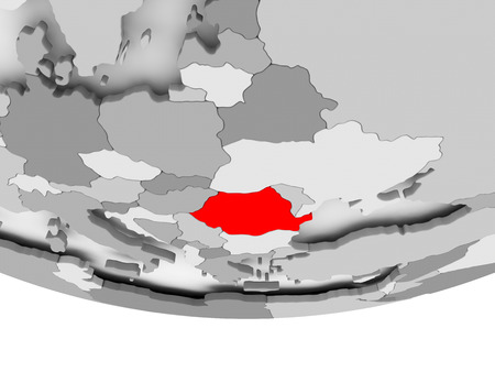 Romania in red on grey political globe. 3D illustration. Imagens