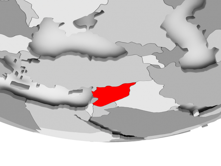 Syria in red on grey political globe. 3D illustration. Stock Photo
