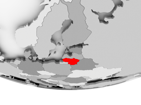 Lithuania in red on grey political globe. 3D illustration.