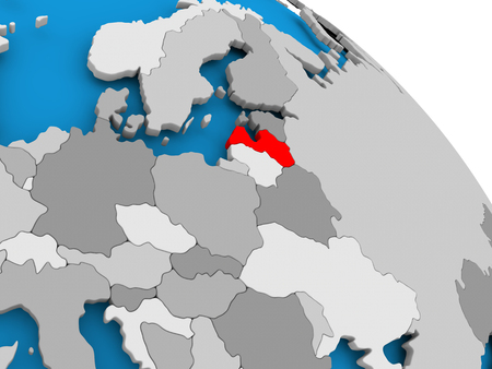 Illustration of Latvia highlighted in red on globe. 3D illustration.