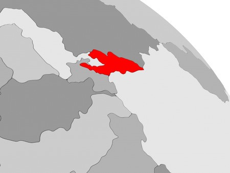 3D render of Kyrgyzstan in red on grey political globe. 3D illustration. Stock Photo