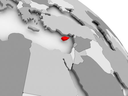 회색 정치 글로브에 빨간색에서 사이 프 러 스의 3D 렌더링. 3D 그림입니다.