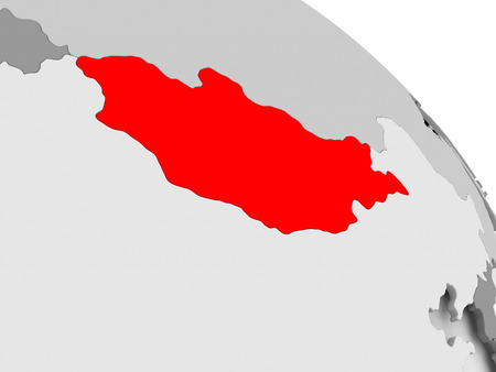 3D render of Mongolia in red on grey political globe. 3D illustration.