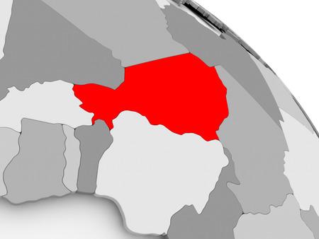 3D render of Niger in red on grey political globe. 3D illustration.