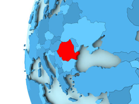 3D render of Romania in red on blue political globe. 3D illustration.