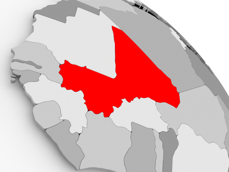 3D render of Mali in red on grey political globe. 3D illustration.
