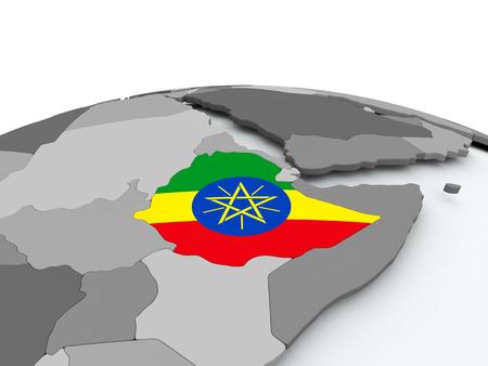 Ethiopia on grey political globe with embedded flag. 3D illustration.