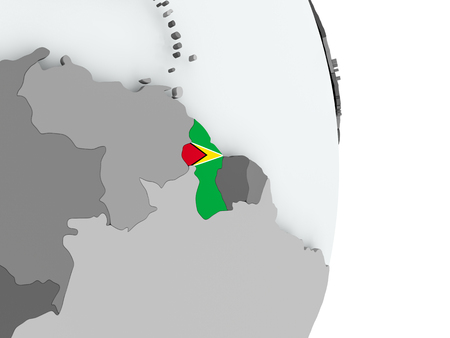 Guyana on political globe with embedded flag. 3D illustration. Stock Photo