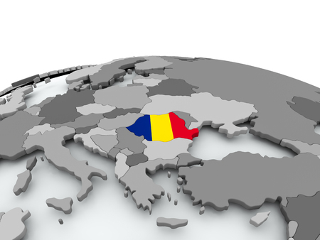 Romania on grey political globe with embedded flag. 3D illustration. Imagens