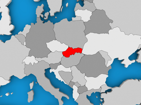 Slovakia in red on political map. 3D illustration. Stock Photo