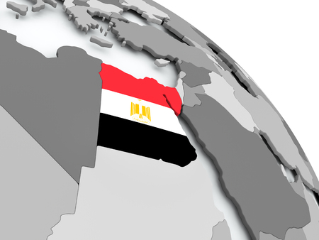 Egypt on globe with flag. 3D illustration.