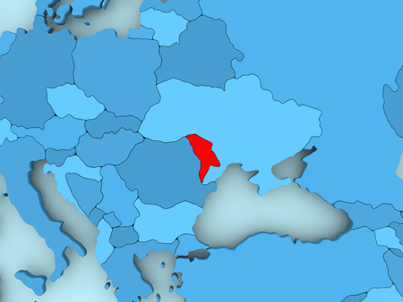 Moldova in red on blue political map. 3D illustration.