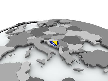 Bosnië op grijze politieke wereld met ingebedde vlag. 3D illustratie. Stockfoto