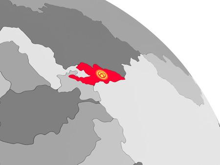 Kyrgyzstan on globe with flag. 3D illustration.