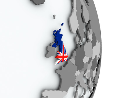 great: United Kingdom on political globe with embedded flag. 3D illustration. Stock Photo