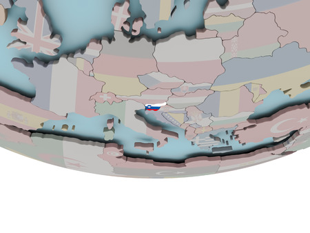 3D illustration of Slovenia with embedded flag on political globe. 3D render.