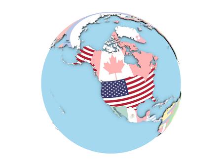 포함 된 플래그 정치 글로브에 미국입니다. 3D 그림 흰색 배경에 고립입니다.