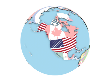 USA on political globe with embedded flags. 3D illustration isolated on white background.