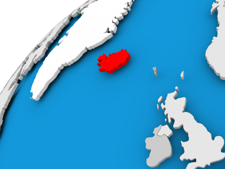 Iceland on simple political globe with visible country borders. 3D illustration.