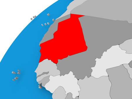 Mauritania on simple political globe with visible country borders. 3D illustration. Фото со стока